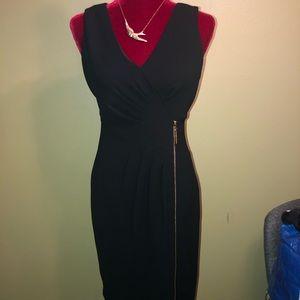 Ivanka Trump Black and Gold Faux Wrap Dress Sz 4